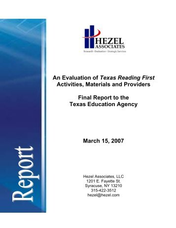 An Evaluation of Texas Reading First - TEA - Home School ...