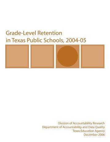 Grade-Level Retention - TEA - Home School Information - Texas ...