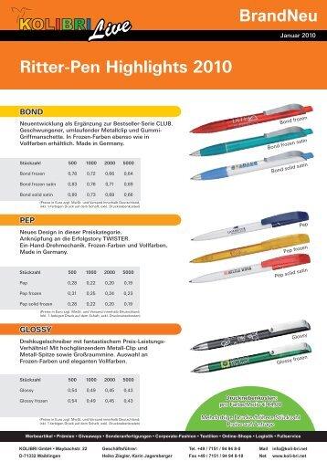 BrandNeu Ritter-Pen Highlights 2010 - kolibri GmbH