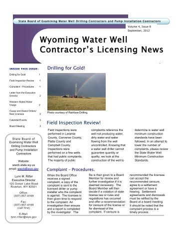 Current NewsLetter - Wyoming Board of Water Well Contractors