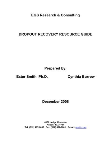 Dropout Recovery Resource Guide - TEA - Home School ...