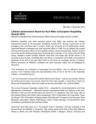 Lifetime Achievement Award for Kurt Ritter at European ... - Carlson