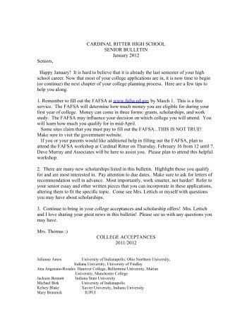 january Senior Bulletin 2012 2 - Cardinal Ritter High School