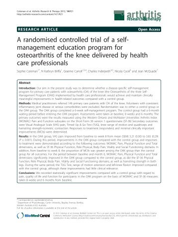 A randomised controlled trial of a self-management - Arthritis ...