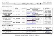 Fortbildungen Abteilung Physiotherapie 2012 / 3