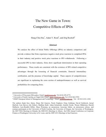 The New Game in Town: Competitive Effects of IPOs - University of ...