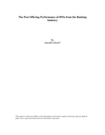 The Post Offering Performance of IPOs in the Banking Industry