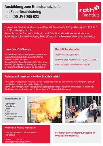 Roth Brandschutz | Ausbildung zum Brandschutzhelfer