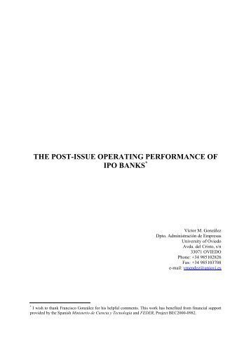 the post-issue operating performance of ipo banks - Universidad de ...