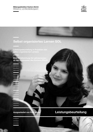 Selbst organisiertes Lernen SOL Leistungsbeurteilung
