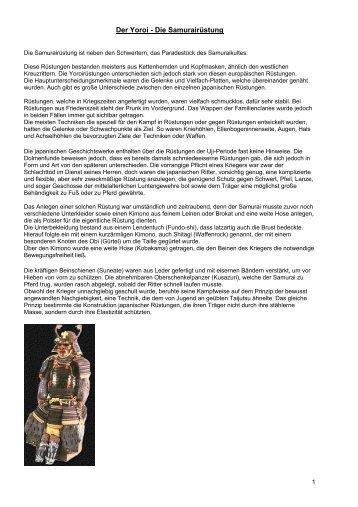 Der Yoroi - Die Samurairüstung - Jiu Jitsu und Judo Fusegi e.V.