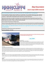 Highcliffe Coach Holidays - Day Excursions - July to September 2020