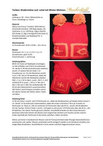 Torben: Kindermütze und -schal mit Winter-Motiven - Maschengold