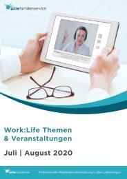 Work:Life Themen & Veranstaltungen Juli   August 2020