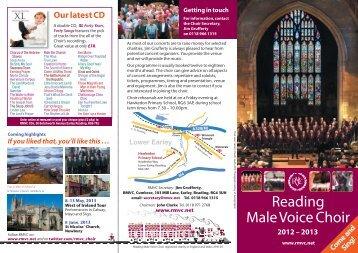 2012-13 Brochure - Reading Male Voice Choir