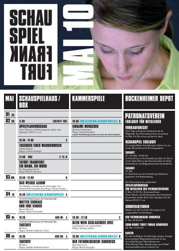 Schauspiel Frankfurt Spielplanprogram Mai 2010