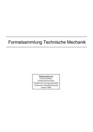 Formelsammlung technische mechanik for Statik formelsammlung