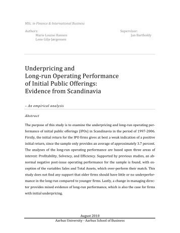 Underpricing and Long-run Operating Performance of Initial Public ...