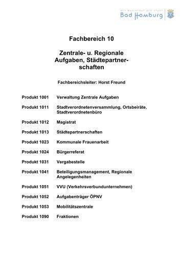 Fachbereich 10 Zentrale- u. Regionale Aufgaben ... - Bad-Homburg