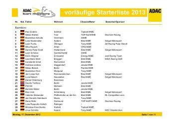 vorläufige Starterliste 2013 - ADAC Motorsport
