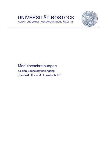 Modulbeschreibung Bachelor Landeskultur und Umweltschutz