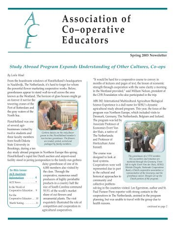 ACE Newsletter Spring 2003 - Association of Cooperative Educators
