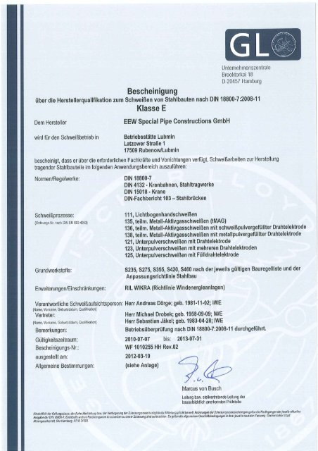 DIN 18800-7 Lubmin - EEW Special Pipe Constructions GmbH