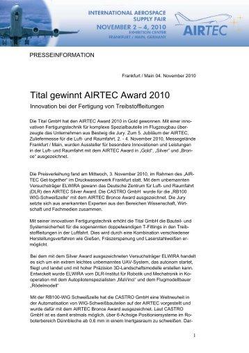 Tital gewinnt AIRTEC Award 2010 (PDF)