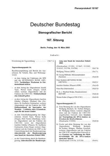 Stenografischer Bericht 167. Sitzung - Deutscher Bundestag