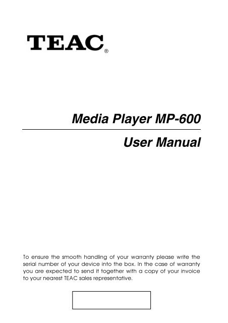 Media Player MP-600 User Manual - TEAC Europe GmbH