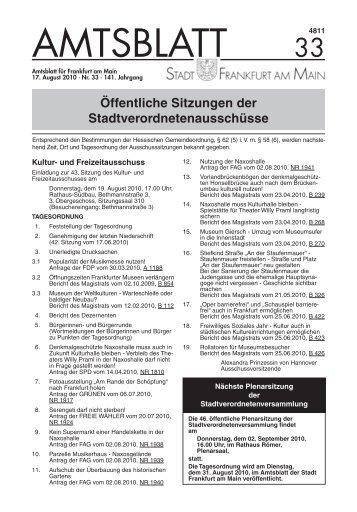 Amtsblatt Nr. 33/2010 S. 657 - 680 (pdf - Frankfurt am Main