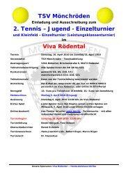 TSV Mönchröden 2. Tennis – Jugend - Einzelturnier Viva Rödental