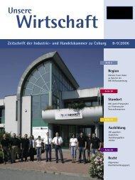 Unsere Wirtschaft 8-9/2006 - Industrie und Handelskammer zu Coburg