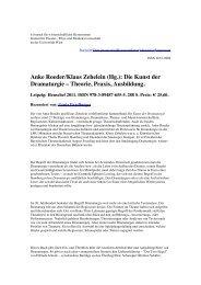 Anke Roeder/Klaus Zehelein (Hg.): Die Kunst der Dramaturgie ...