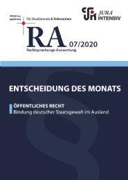 RA 07/2020 - Entscheidung des Monats
