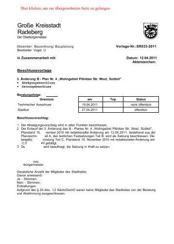 3. ÄNDERUNG BEBAUUNGSPLANES NR. 4 - Radeberger-Spiegel.de
