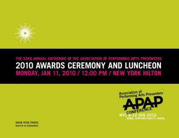 2010 awards ceremony and luncheon - Association of Performing ...