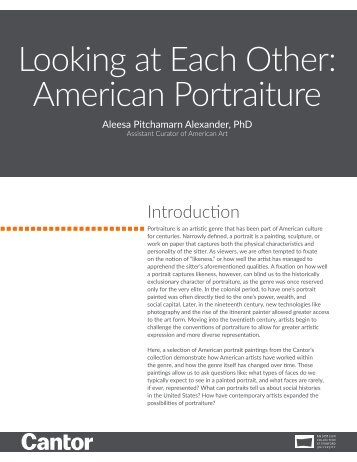 Learning Guide | Looking at Each Other: American Portraiture