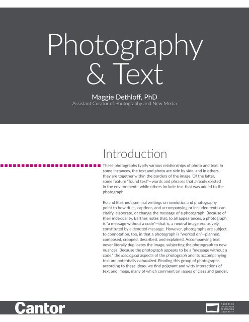 Learning Guide | Photography & Text