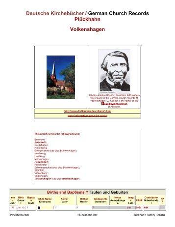 Deutsche Kirchebücher / German Church Records ... - Plueckhahn.org