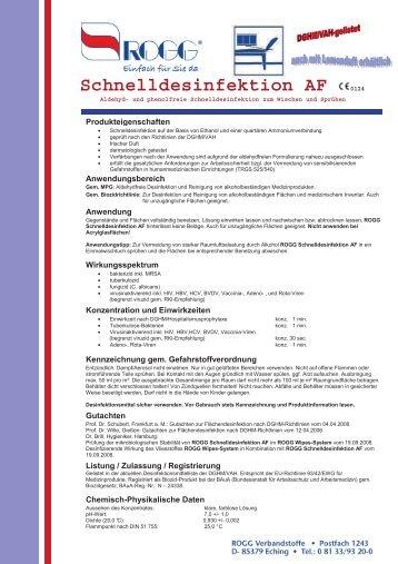 Schnelldesinfektion AF 0124 - ROGG Verbandstoffe