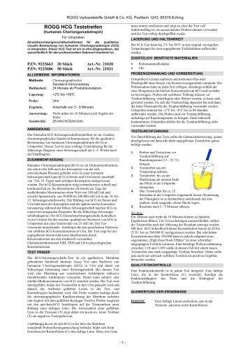 ROGG HCG Teststreifen - ROGG Verbandstoffe