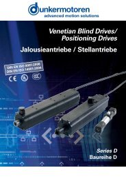 Venetian Blind Drives/ Positioning Drives ... - Dunkermotoren