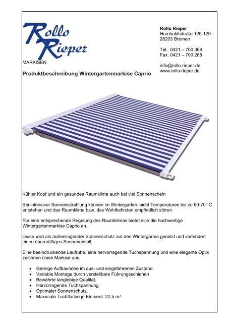 Produktbeschreibung Wintergartenmarkise Caprio - Rollo Rieper