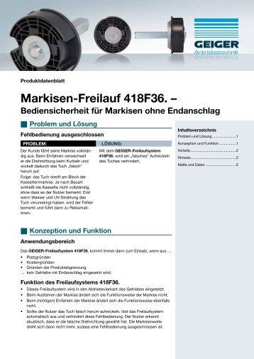 Markisen-Freilauf 418F36. – - Geiger Antriebstechnik