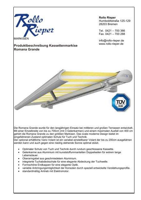 produktinformation romana grande - Rollo Rieper