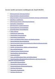 Liste der staatlich anerkannten Ausbildungsberufe ... - Stiftung TANZ
