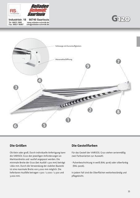 Gelenkarmmarkisen Prospekt mit Technik - Rolladen Schmidt ...