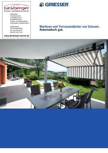 Markisen und Terrassendächer von Griesser. Automatisch gut.