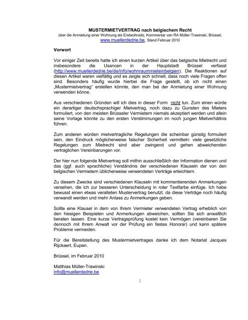 Mustermietvertrag Nach Belgischem Recht Www